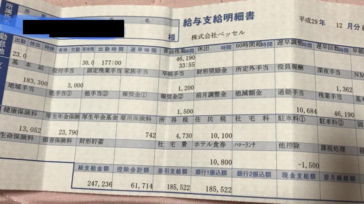 ベッセルの給与明細(ガチ画像)・年収・ボーナス・評判