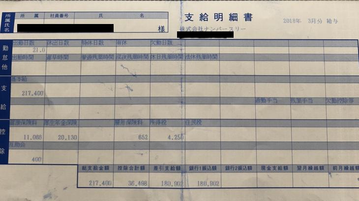 ナンバースリーの給料明細(ガチ画像)・年収・ボーナス・評判