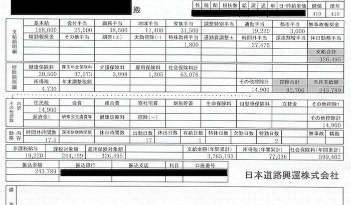 日本道路興運の給料明細【ガチ画像】・年収・ボーナス・評判