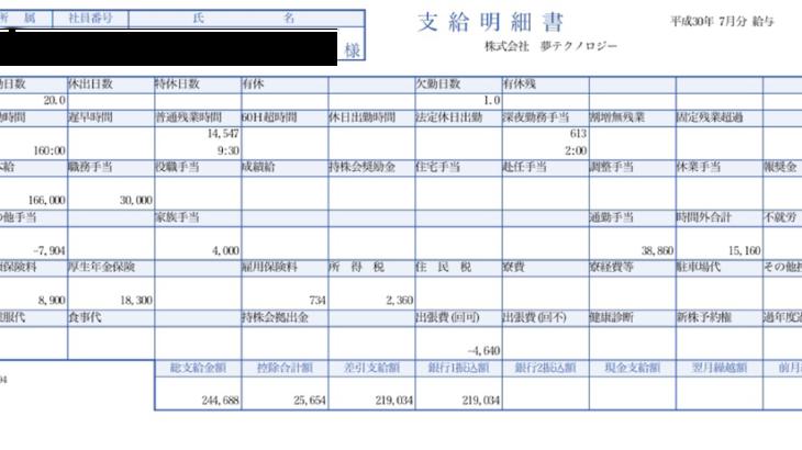 夢テクノロジーの給与明細【ガチ画像】・年収・ボーナス・評判