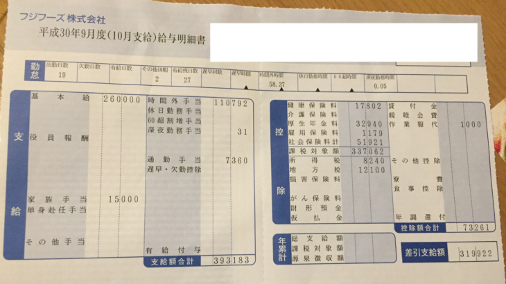 フジフーズの給与明細【ガチ画像】・年収・ボーナス・評判