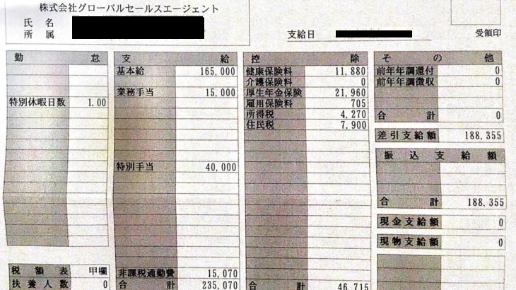 グローバルセールスエージェントの給料明細【ガチ画像】・年収・ボーナス・評判