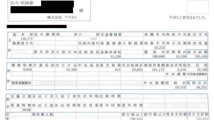 アクオレの給与明細【ガチ画像】・年収・ボーナス・評判