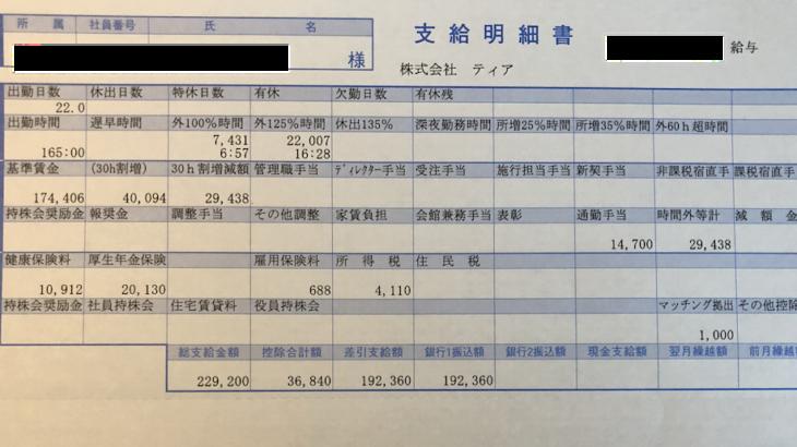 ティアの給与明細【ガチ画像】・年収・ボーナス・評判