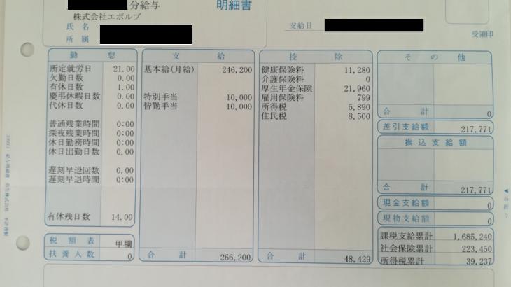 エボルブの給料明細【ガチ画像】・年収・ボーナス・評判