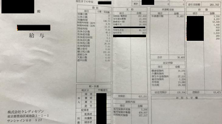 クレディセゾンの給与明細【ガチ画像】・年収・ボーナス・評判
