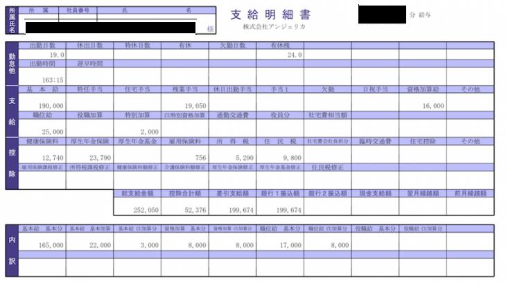 アンジェリカの給料明細【ガチ画像】・年収・ボーナス・評判
