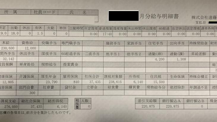 遠藤製作所の給与明細【ガチ画像】・年収・ボーナス・評判