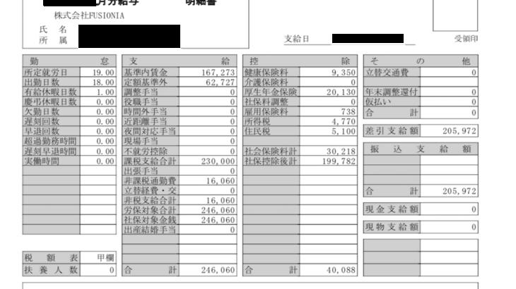 フュージョニアの給与明細【ガチ画像】・年収・ボーナス・評判