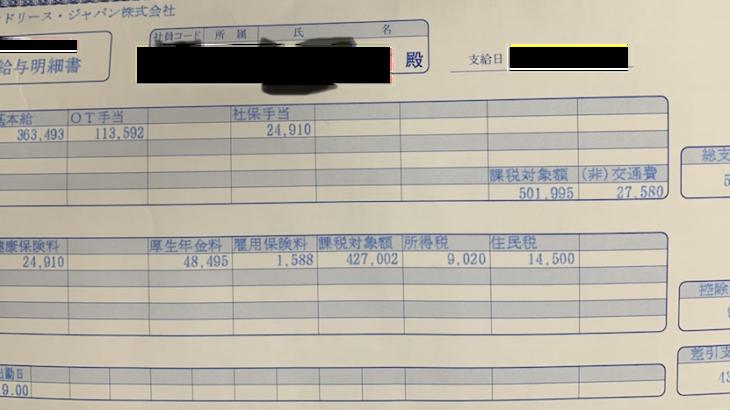 レンドリース・ジャパンの給与明細【ガチ画像】・年収・ボーナス・評判