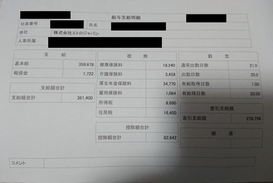 エトロジャパンの給料明細【ガチ画像】・年収・ボーナス・評判