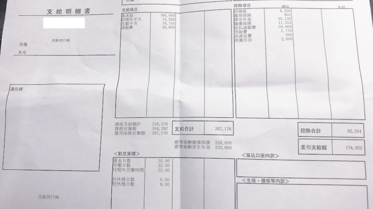 西鉄旅行の給与明細【ガチ画像】・年収・ボーナス・評判
