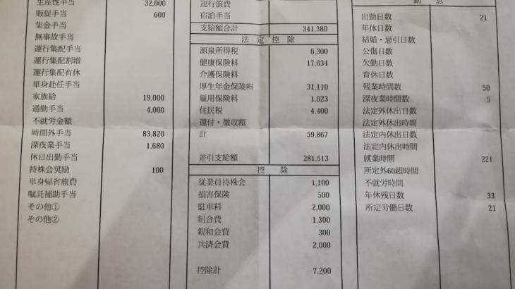 福山通運の給料明細【ガチ画像】・年収・ボーナス・評判