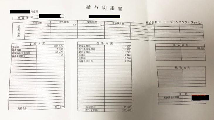 モード・プランニング・ジャパンの給与明細【ガチ画像】・年収・ボーナス・評判