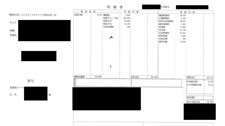 コニカミノルタジャパンの給与明細【ガチ画像】・年収・ボーナス・評判