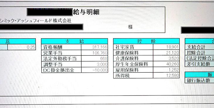 シミック・アッシュフィールドの給与明細【ガチ画像】・年収・ボーナス・評判