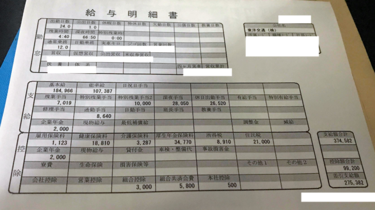 東洋交通の給料明細【ガチ画像】・年収・ボーナス・評判