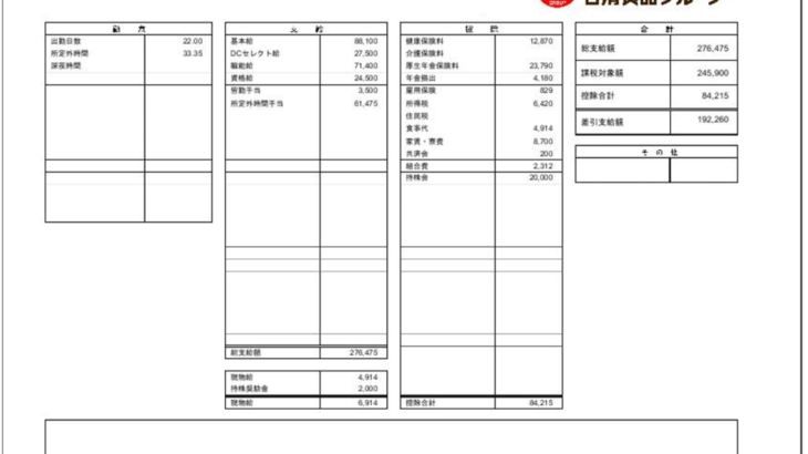 日清食品の給料明細【ガチ画像】・年収・ボーナス・評判